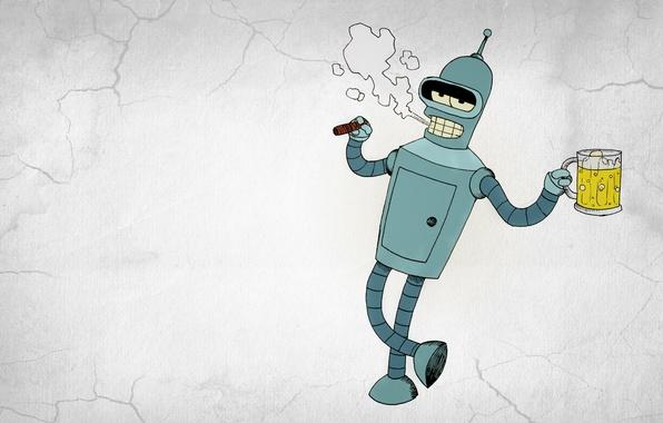 Картинка дым, робот, сигара, Бендер, Футурама, Futurama, Bender Bending Rodriguez