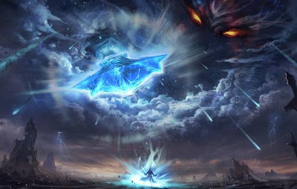 Картинка небо, глаза, облака, оружие, человек, бог, меч, арт, метеориты, божество, feng liu, pursue, карающий