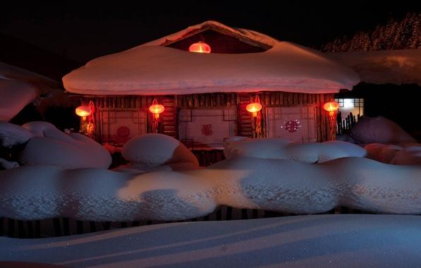 Картинка снег, дом, праздник, Новый Год, фонари, год, New Year, 2014