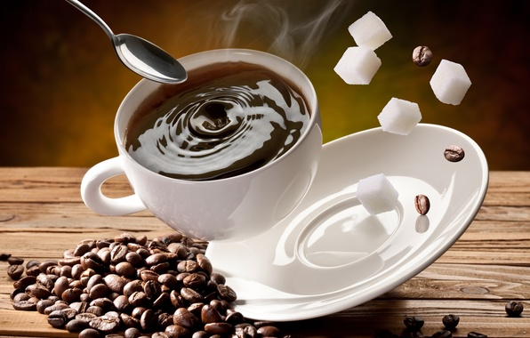 Картинка кубики, кофе, зерна, ложка, чашка, сахар, белая, блюдце