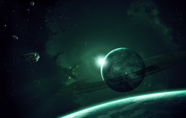 Картинка звезды, планета, кольца, астероиды, газовый гигант