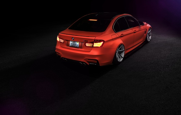 Картинка BMW, Orange, Car, Tuning, Vossen, Low, Wheels, Rear, F80, Perfomance