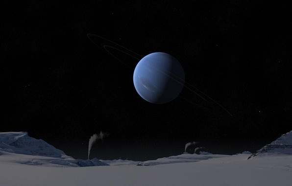 Картинка холод, небо, поверхность, снег, ночь, кольца, звёзды, солнечная система, нептун, газовый гигант, гейзеры, тритон