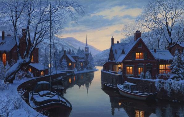 Картинка зима, снег, горы, река, дома, лодки, вечер, ели, сумерки, живопись, часовня, ёлки, river, trees, winter, …