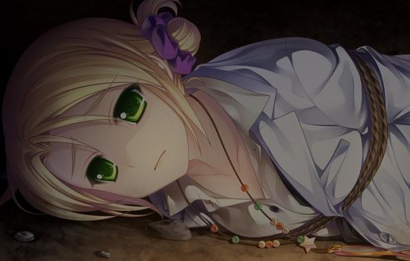 Картинка девушка, аниме, веревка, арт, рубашка, звездочка, резинка, tsukasa mahori, & - sora no mukou de …
