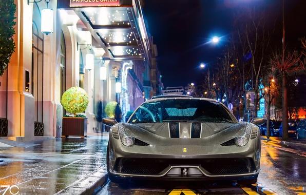 Картинка мокро, машина, капли, свет, ночь, город, огни, улица, Франция, Париж, мокрая, Ferrari, Paris, 458, дождя, …
