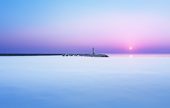 Картинка зима, море, снег, рассвет, маяк, утро, пирс