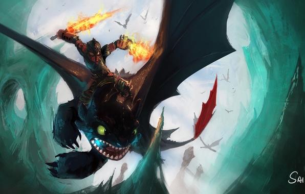 Картинка полет, дракон, доспехи, мальчик, клинки, Как приручить дракона