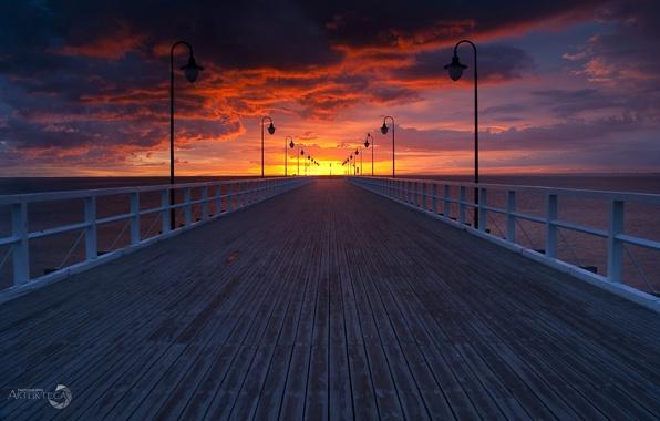 Картинка вечер, Польша, пирс, Балтийское море