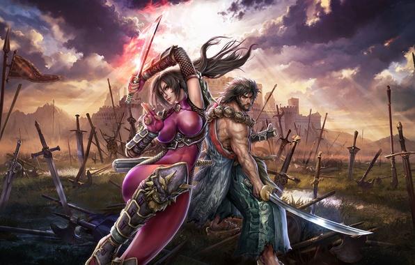 Картинка поле, грудь, небо, трава, девушка, лучи, горы, тучи, оружие, замок, катана, флаг, воин, самурай, борода, …