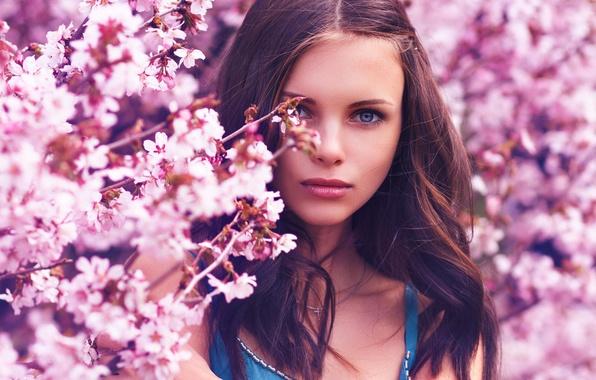 Картинка девушка, цветы, природа, весна, макияж, сакура