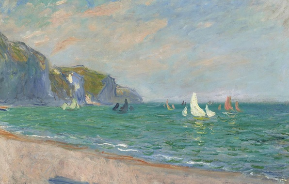 Картинка пейзаж, картина, Клод Моне, Парусники на Побережье в Пурвиле