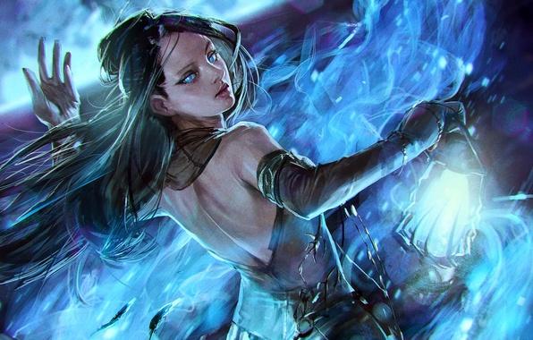 Картинка девушка, синий, огонь, пламя, магия, рисунок, лампа, танец, фэнтези, арт, фонарь, fire, flame, girl, fantasy, …