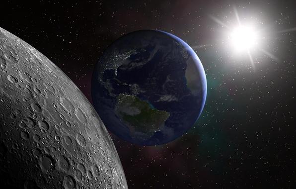 Картинка космос, поверхность, Солнце, Луна, Земля