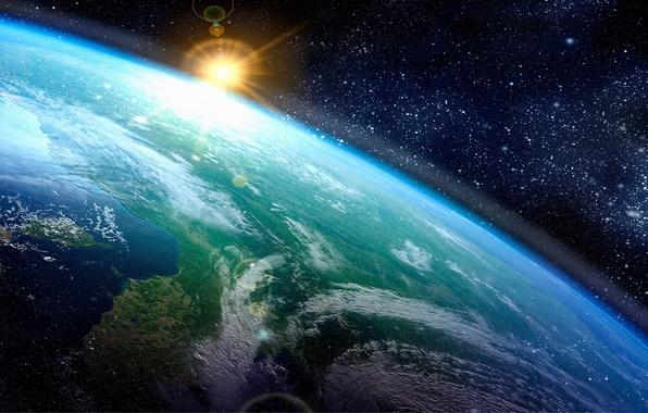 Обои картинки фото арт космос земля