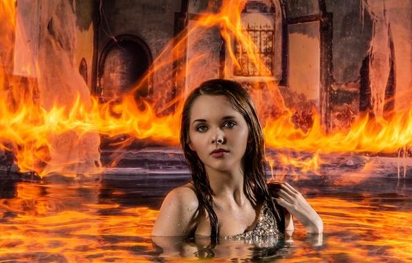 Картинка вода, девушка, огонь, ситуация