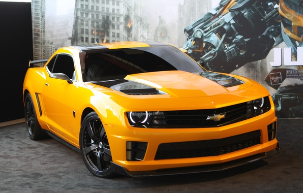 Картинка трансформеры, 2012, шевроле, camaro, chevrolet, tuning, dark of the moon, transformers, bumblebee, камаро