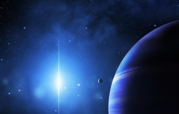 Картинка космос, звезды, свет, планеты, арт, jkelly26