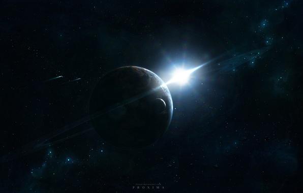 Картинка космос, свет, сияние, планета, спутник, корабли, звёзды, кольцо, space ships