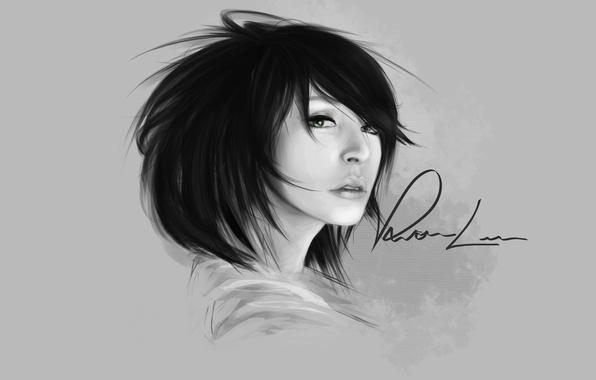 Картинка взгляд, девушка, надпись, арт, черно-белое, монохромное, Vernon Lee