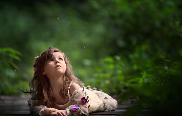 Картинка цветы, настроение, девочка, венок, боке