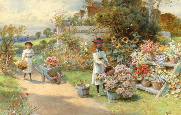 Фото обои лето, деревья, подсолнухи, цветы, дети, дом, ручей, настроение, девочки, забор, картина, сад, тачка, дорожка, шляпки, ...