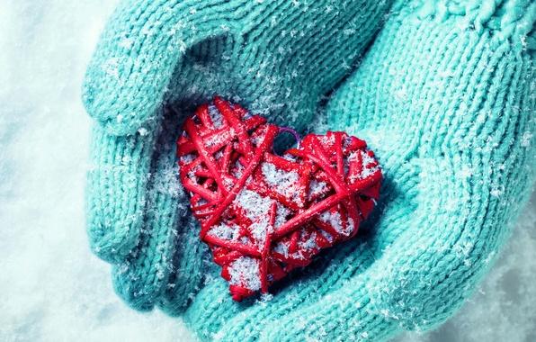 Картинка зима, снег, любовь, сердце, руки, love, heart, winter, snow, hands
