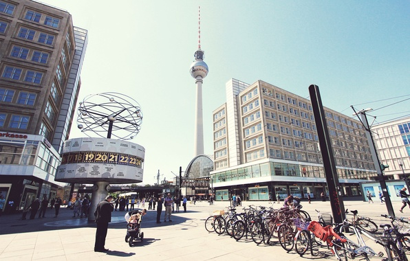 Картинка город, люди, Германия, площадь, Берлин, Alexanderplatz, Berlin