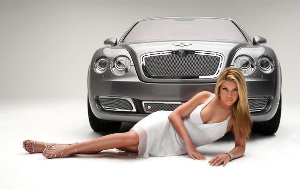 Картинка авто, девушка, Bentley