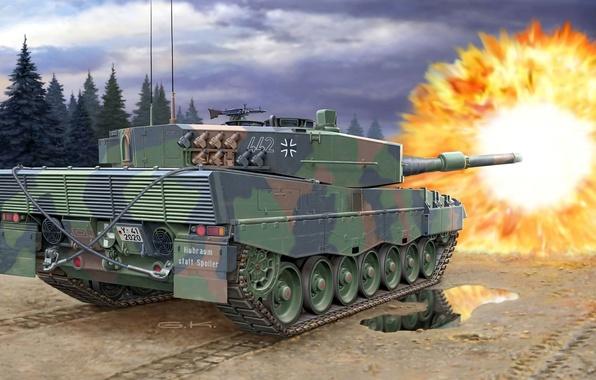 Картинка дорога, небо, деревья, тучи, отражение, пламя, рисунок, выстрел, лужа, арт, танк, камуфляж, боевой, немецкий, основной, …
