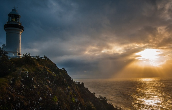 Картинка море, солнце, закат, тучи, маяк