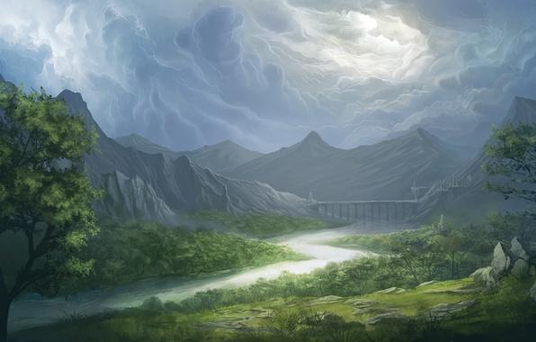 Картинка небо, трава, облака, деревья, пейзаж, горы, мост, река, долина, арт, Bruce Mashbat