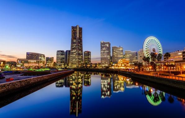 Картинка отражение, Япония, зеркало, горизонт, канал, колесо обозрения, голубое небо, Йокогама