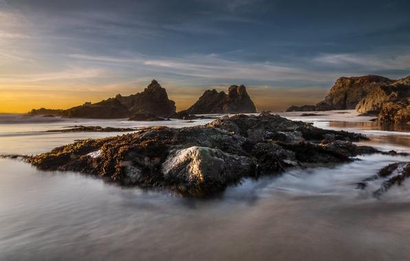 Картинка песок, пляж, пейзаж, океан, скалы, рассвет, берег
