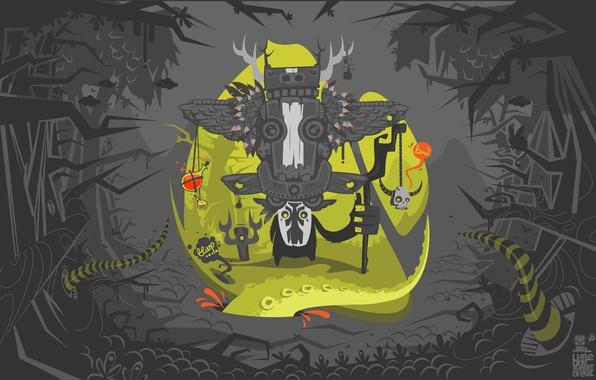 Картинка змеи, деревья, ветки, магия, череп, крылья, перья, маска, джунгли, хвост, посох, шаман