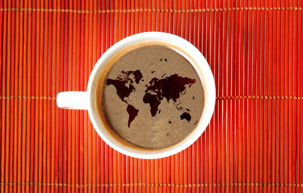 Картинка кофе, карта, Мир, World, древесина, wood, map, coffee
