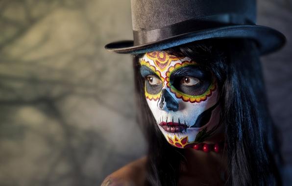 Картинка девушка, лицо, раскрас, dia de los muertos, день мёртвых