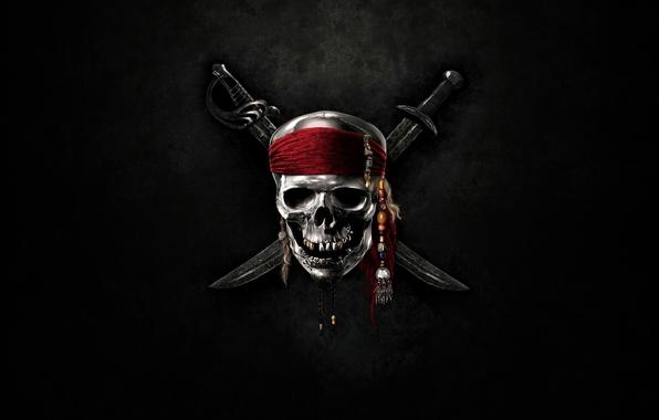 Картинка череп, сабли, моря, пираты карибского