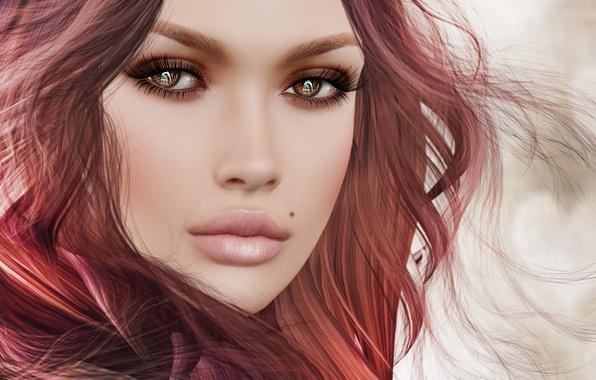 Картинка взгляд, девушка, лицо, волосы, портрет