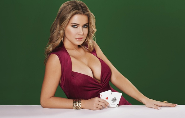 Картинка карты, грудь, взгляд, девушка, секси, фигура, блондинка, sexy, Carmen Electra, Кармэн Электра