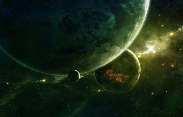 Картинка космос, планеты, арт, space, qauz