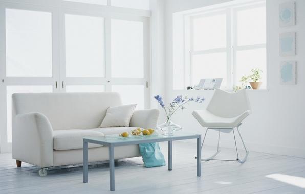 Картинка белый, цветы, дизайн, стиль, комната, диван, интерьер, растения, кресло, квартира
