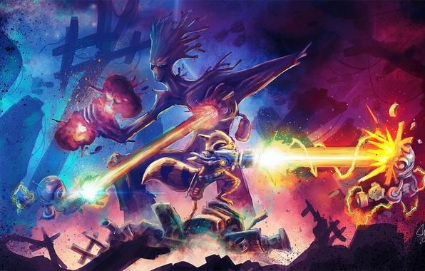 Картинка битва, выстрелы, Rocket, Groot, Guardians of the galaxy