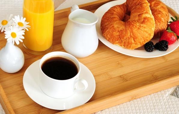 Картинка цветы, стакан, ягоды, кофе, еда, ромашки, завтрак, молоко, клубника, чашка, постель, тарелки, ваза, glass, food, …