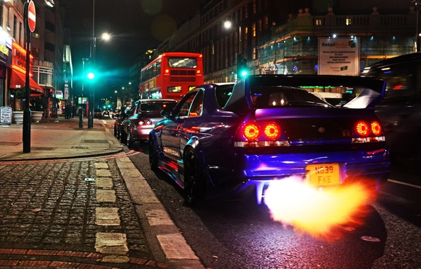 Картинка fire, Nissan, GT-R, cars, Skyline, London, R33