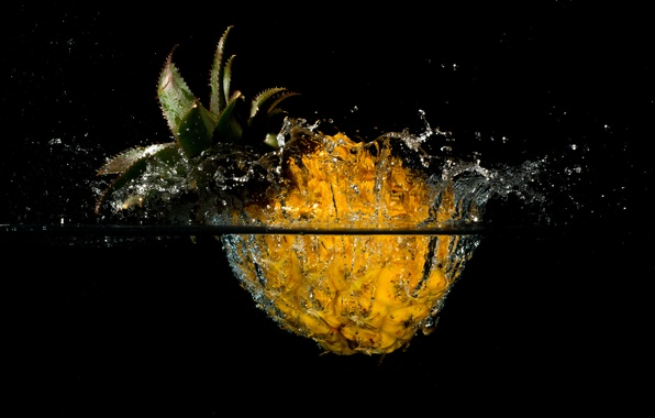 Картинка вода, брызги, всплеск, ананас, плод