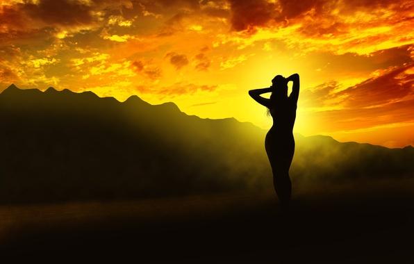 Картинка девушка, свет, закат, горы