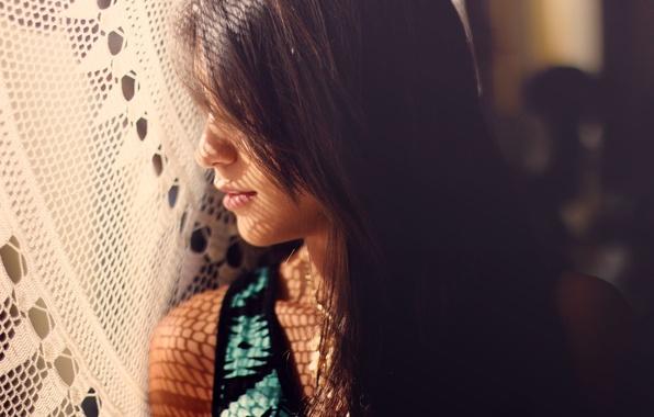 Картинка девушка, тень, брюнетка, профиль