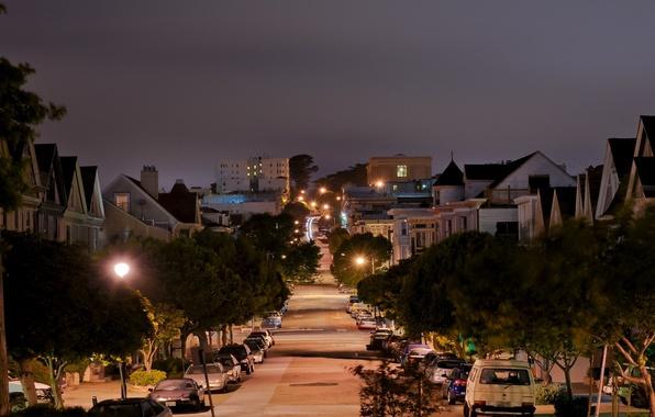 Картинка ночь, огни, улица, california, калифорния, night, san francisco, street, pierce street