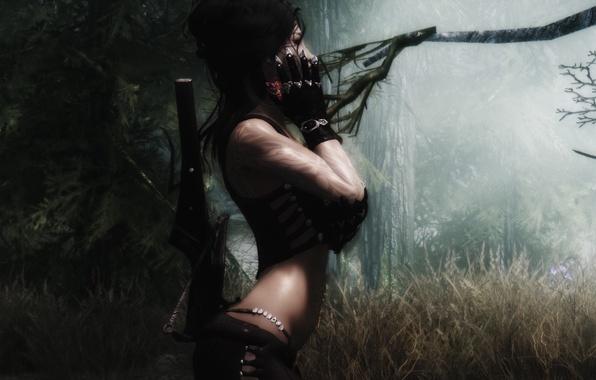 Картинка лес, трава, девушка, деревья, оружие, перчатки, скайрим, The Elder Scrolls V Skyrim
